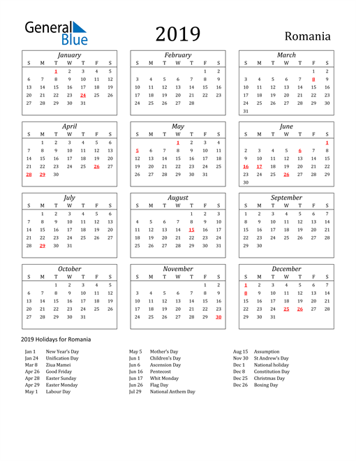 Image of Romania 2019 Calendar Streamlined Version with Holidays