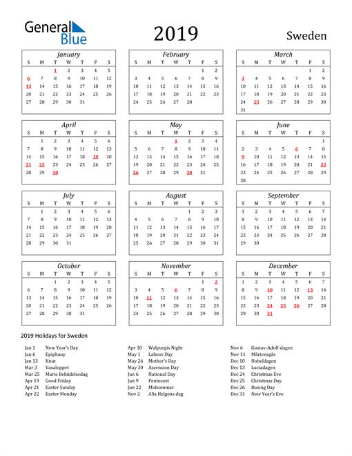 Image of Sweden 2019 Calendar Streamlined Version with Holidays