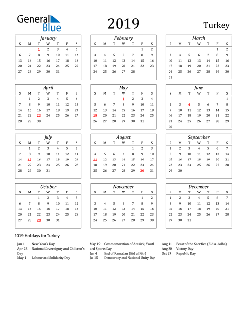 Image of Turkey 2019 Calendar Streamlined Version with Holidays