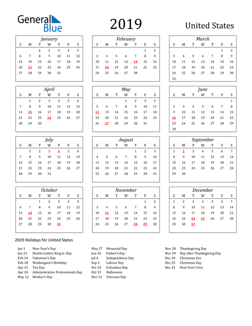 Image of United States 2019 Calendar Streamlined Version with Holidays