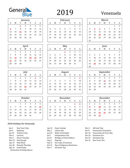 Image of Venezuela 2019 Calendar Streamlined Version with Holidays