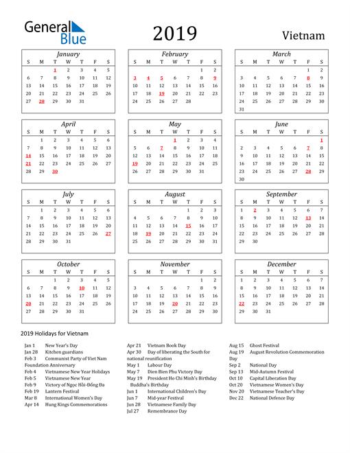Image of Vietnam 2019 Calendar Streamlined Version with Holidays