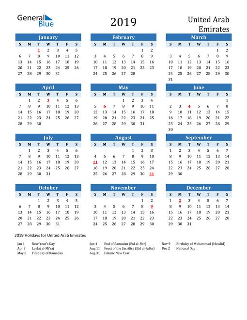 Image of United Arab Emirates 2019 Calendar Two-Tone Blue with Holidays