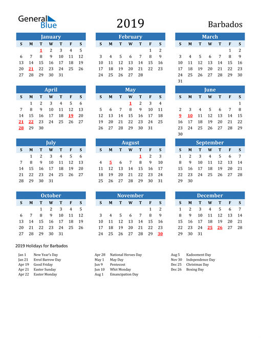 Image of Barbados 2019 Calendar Two-Tone Blue with Holidays
