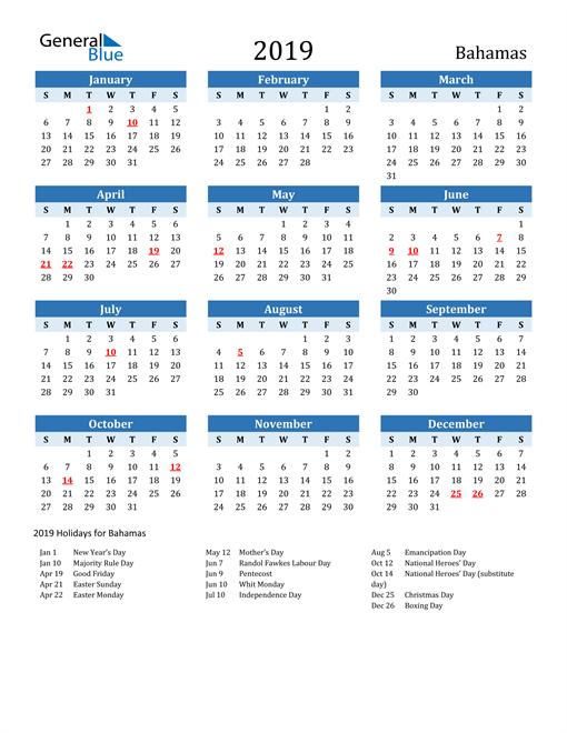 Image of Bahamas 2019 Calendar Two-Tone Blue with Holidays