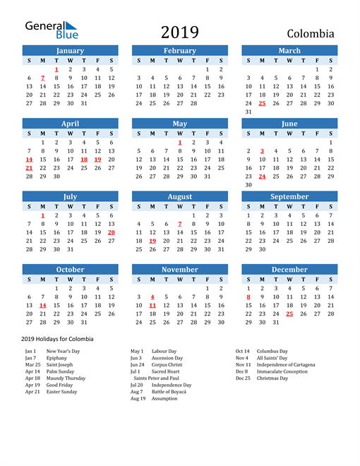 Image of Colombia 2019 Calendar Two-Tone Blue with Holidays
