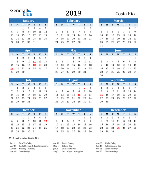 Image of Costa Rica 2019 Calendar Two-Tone Blue with Holidays