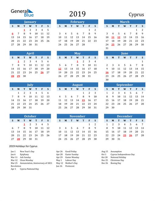 Printable Calendar 2019 with Cyprus Holidays