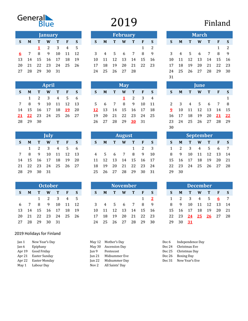 Image of Finland 2019 Calendar Two-Tone Blue with Holidays