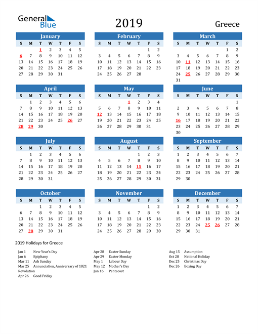 Image of Greece 2019 Calendar Two-Tone Blue with Holidays