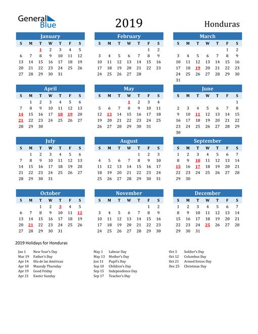Image of Honduras 2019 Calendar Two-Tone Blue with Holidays