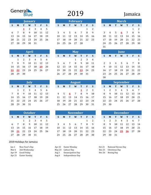 Image of Jamaica 2019 Calendar Two-Tone Blue with Holidays