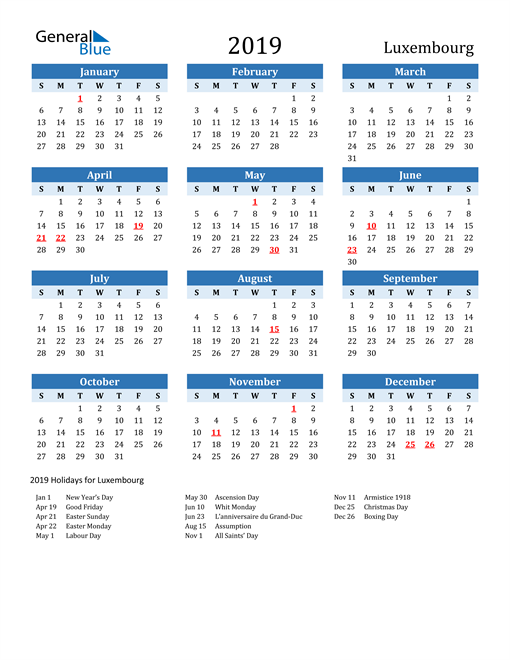 Image of Luxembourg 2019 Calendar Two-Tone Blue with Holidays