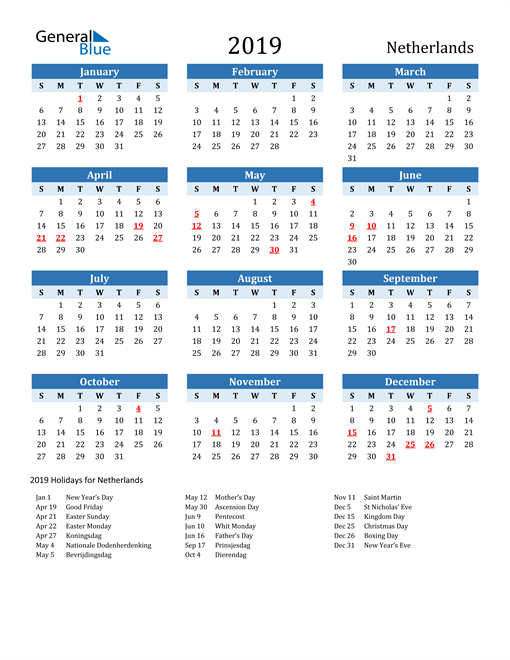 Image of Netherlands 2019 Calendar Two-Tone Blue with Holidays