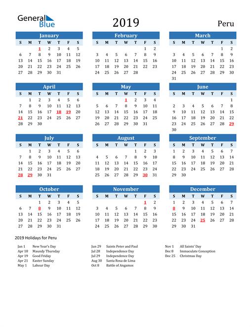 Image of Peru 2019 Calendar Two-Tone Blue with Holidays