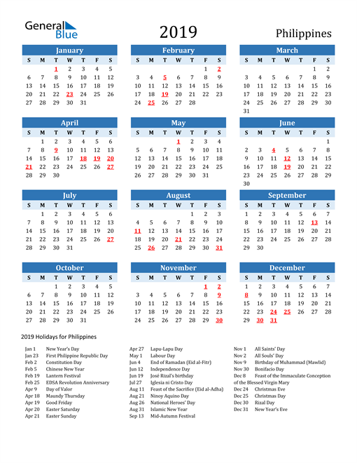 Image of Philippines 2019 Calendar Two-Tone Blue with Holidays