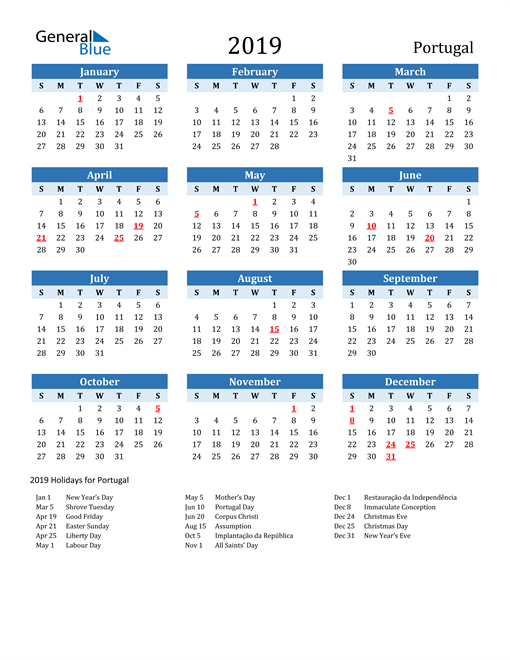 Image of Portugal 2019 Calendar Two-Tone Blue with Holidays