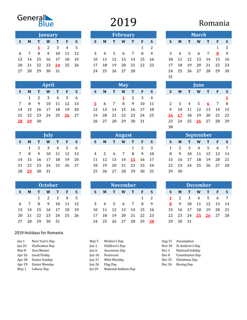 Image of Romania 2019 Calendar Two-Tone Blue with Holidays