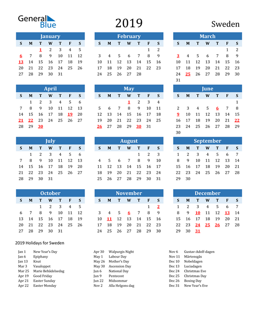 Image of Sweden 2019 Calendar Two-Tone Blue with Holidays