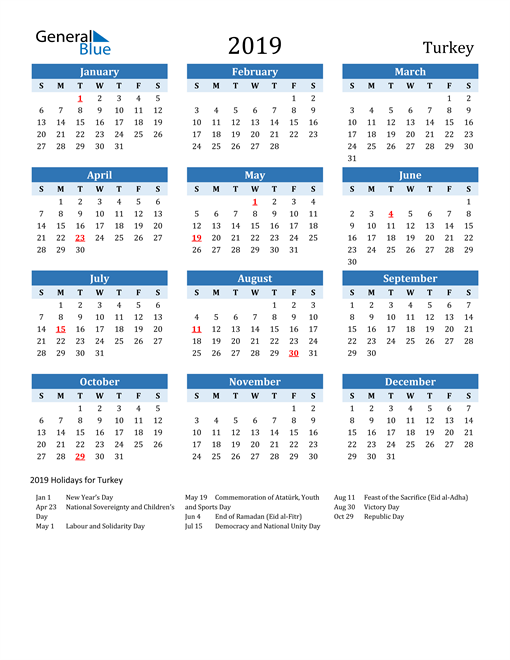 Image of Turkey 2019 Calendar Two-Tone Blue with Holidays