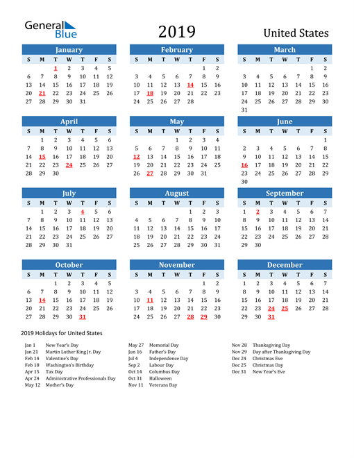 Image of United States 2019 Calendar Two-Tone Blue with Holidays