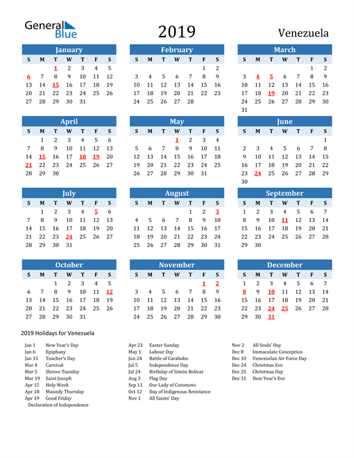 Image of Venezuela 2019 Calendar Two-Tone Blue with Holidays