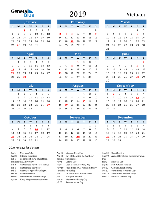 Image of Vietnam 2019 Calendar Two-Tone Blue with Holidays