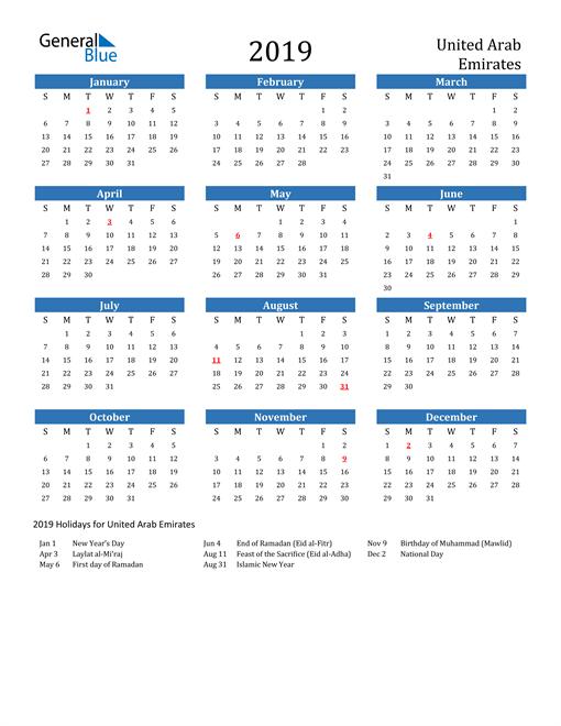 Image of 2019 Calendar - United Arab Emirates with Holidays