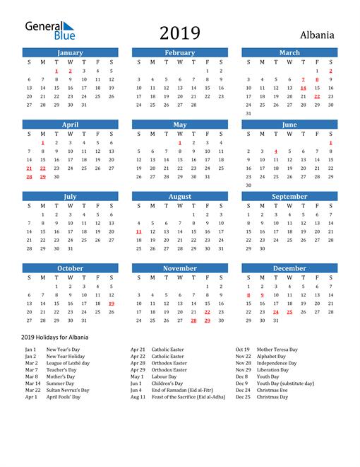 Image of 2019 Calendar - Albania with Holidays