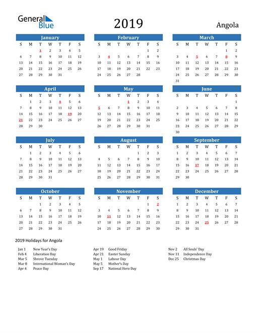 Image of 2019 Calendar - Angola with Holidays