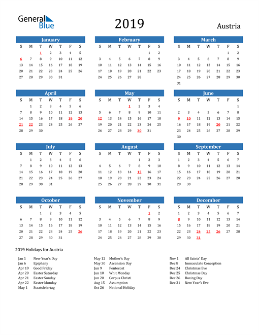 Image of 2019 Calendar - Austria with Holidays