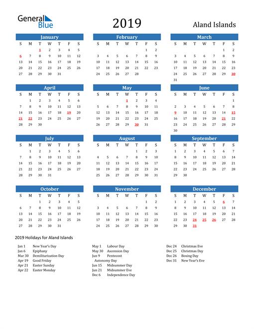 Image of 2019 Calendar - Aland Islands with Holidays