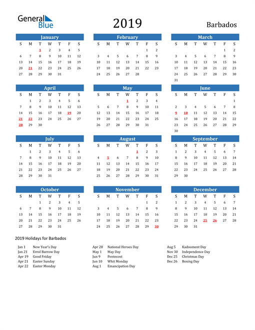 Image of 2019 Calendar - Barbados with Holidays