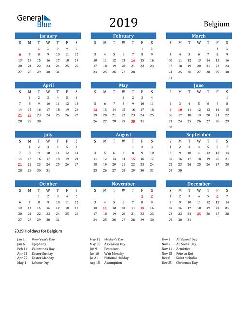 Image of 2019 Calendar - Belgium with Holidays