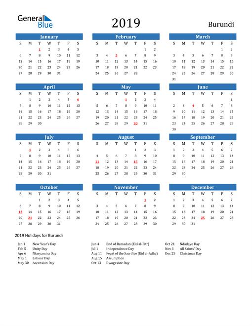 Image of 2019 Calendar - Burundi with Holidays