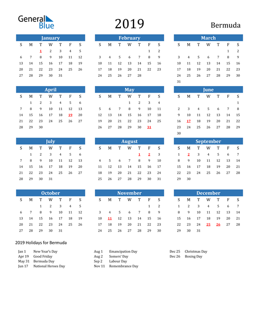 Image of 2019 Calendar - Bermuda with Holidays
