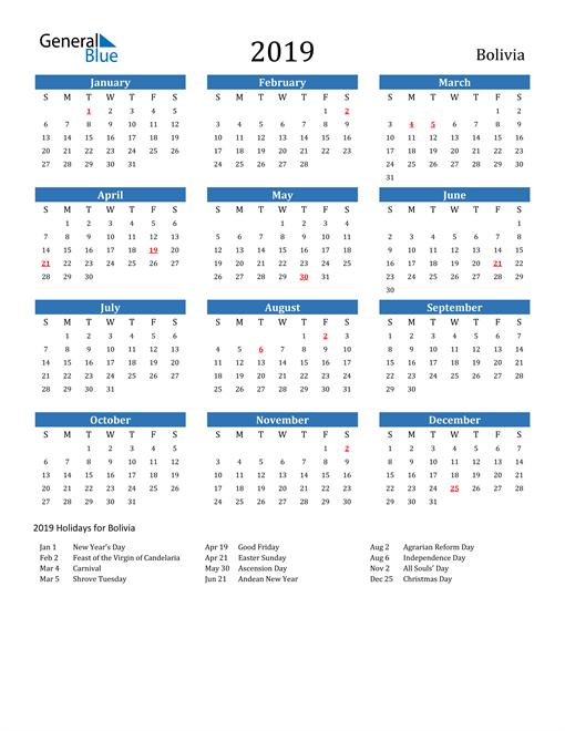 Image of 2019 Calendar - Bolivia with Holidays