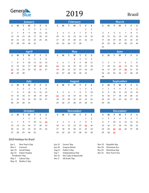 Image of 2019 Calendar - Brazil with Holidays