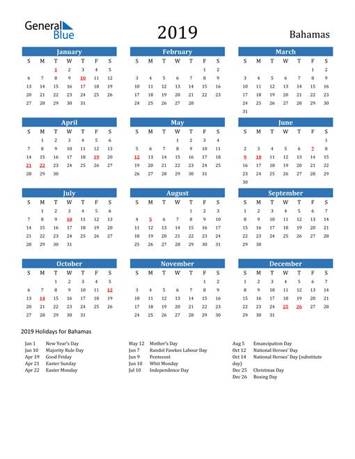 Image of 2019 Calendar - Bahamas with Holidays