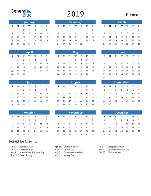 Image of Belarus 2019 Calendar with Holidays