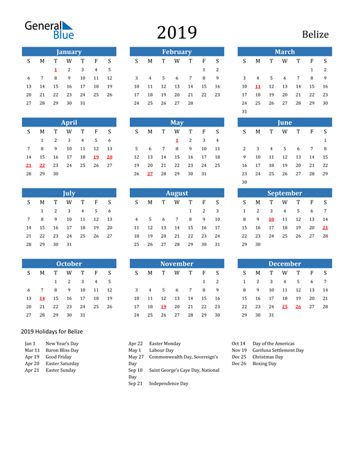 Image of 2019 Calendar - Belize with Holidays