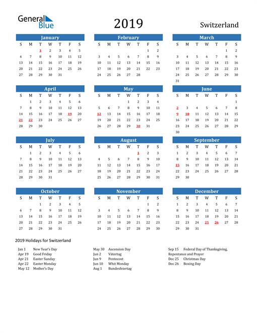 Image of 2019 Calendar - Switzerland with Holidays