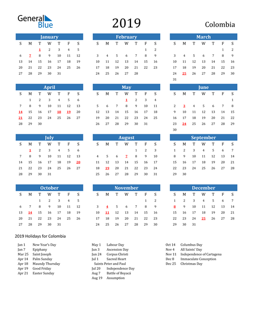 Image of Colombia 2019 Calendar with Holidays