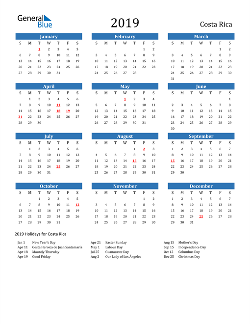 Image of Costa Rica 2019 Calendar with Holidays