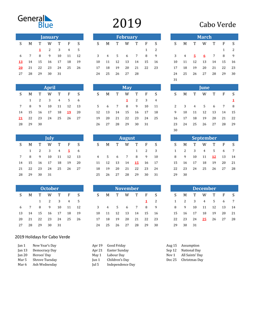 Image of 2019 Calendar - Cabo Verde with Holidays
