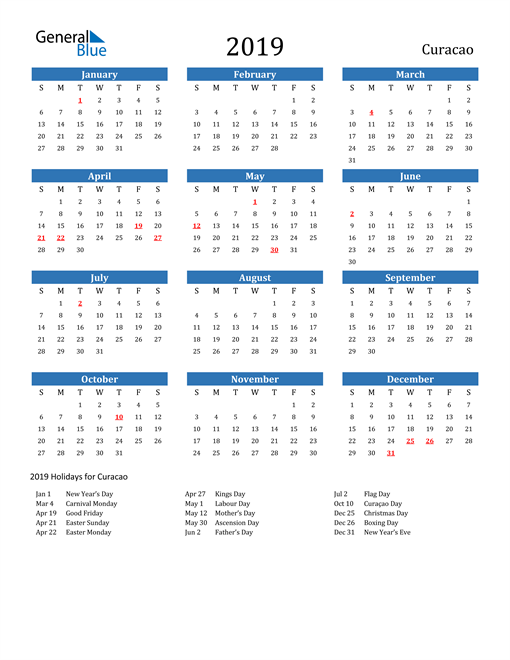 Image of 2019 Calendar - Curacao with Holidays