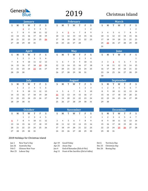 Image of 2019 Calendar - Christmas Island with Holidays