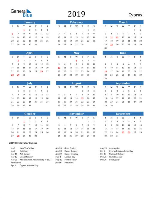 Cyprus 2019 Calendar with Holidays