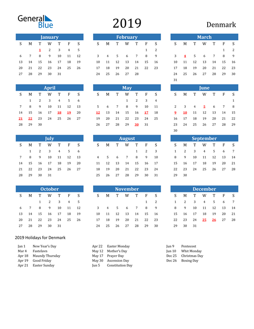 Image of 2019 Calendar - Denmark with Holidays