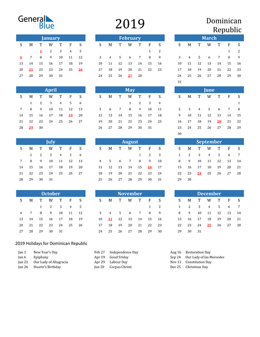 Image of 2019 Calendar - Dominican Republic with Holidays